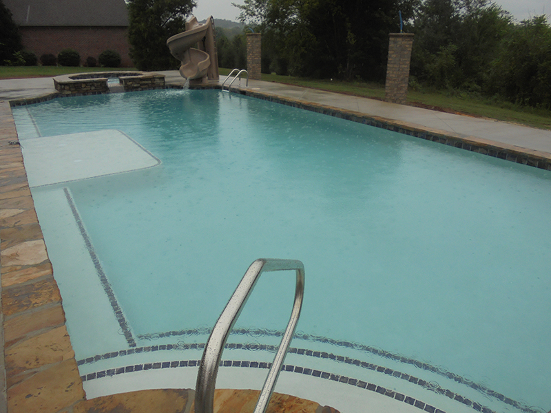 Custom Pool looks great in the rain