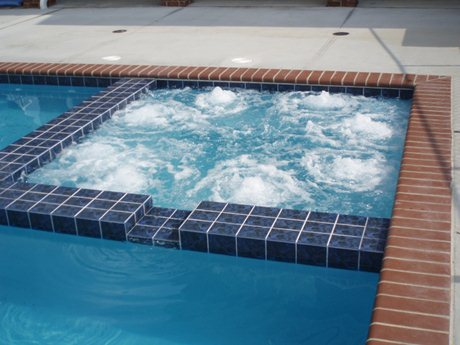 square spa into pool