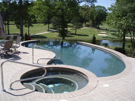 spa attached to in ground pool