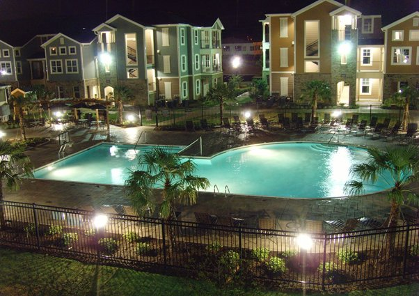 Commercial pool at night